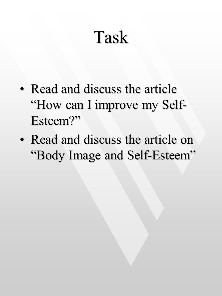 Task Read and discuss the article How can I improve my Self-Esteem
