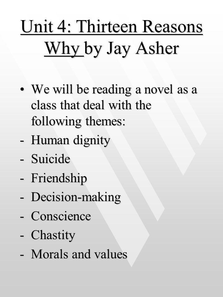 Unit 4: Thirteen Reasons Why by Jay Asher