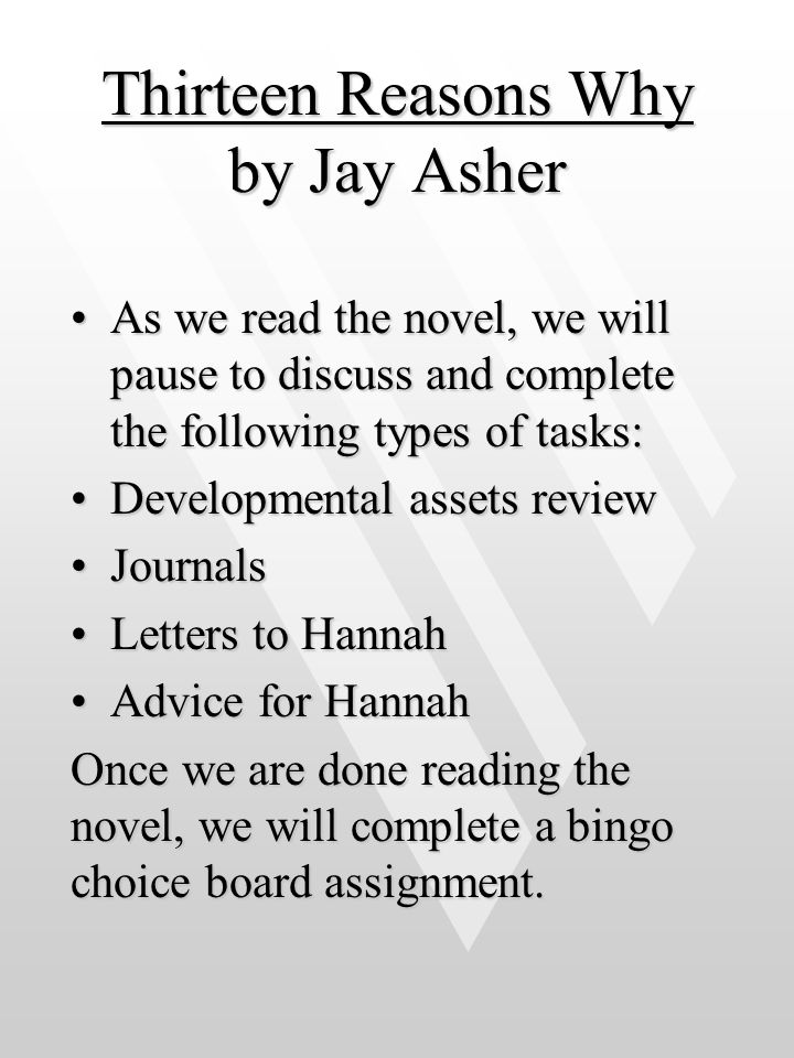 thirteen reasons why jay asher essay Thirteen reasons why by jay asher 978-1-59514-171-2 (hc) • $1699 ages 12 up • grades 7 up for more discussion guides to get your group going, visit.