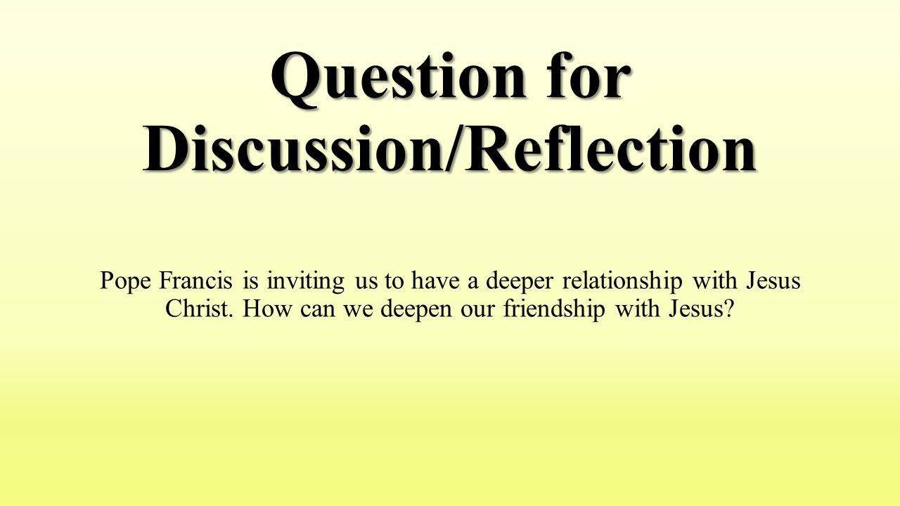Question for Discussion/Reflection