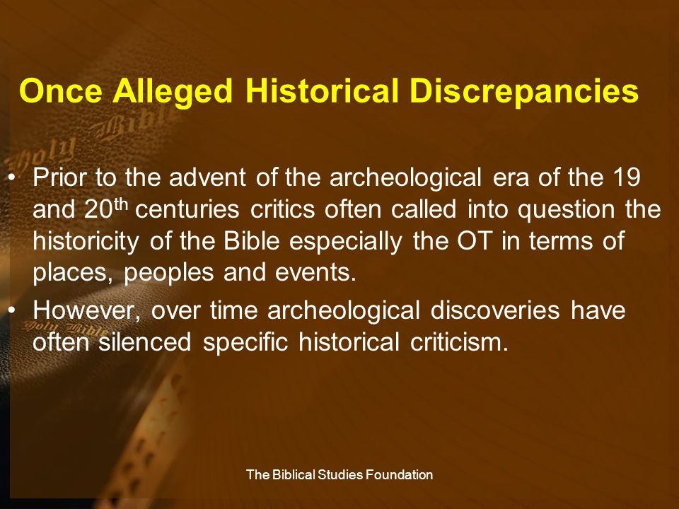 Once Alleged Historical Discrepancies