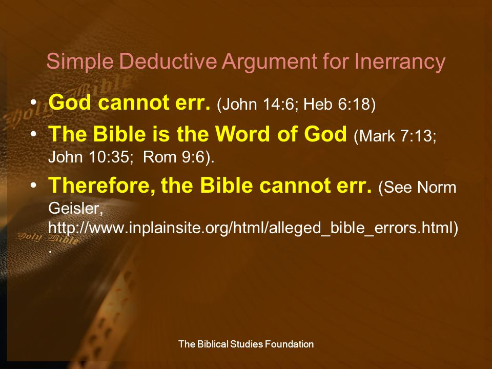 Simple Deductive Argument for Inerrancy