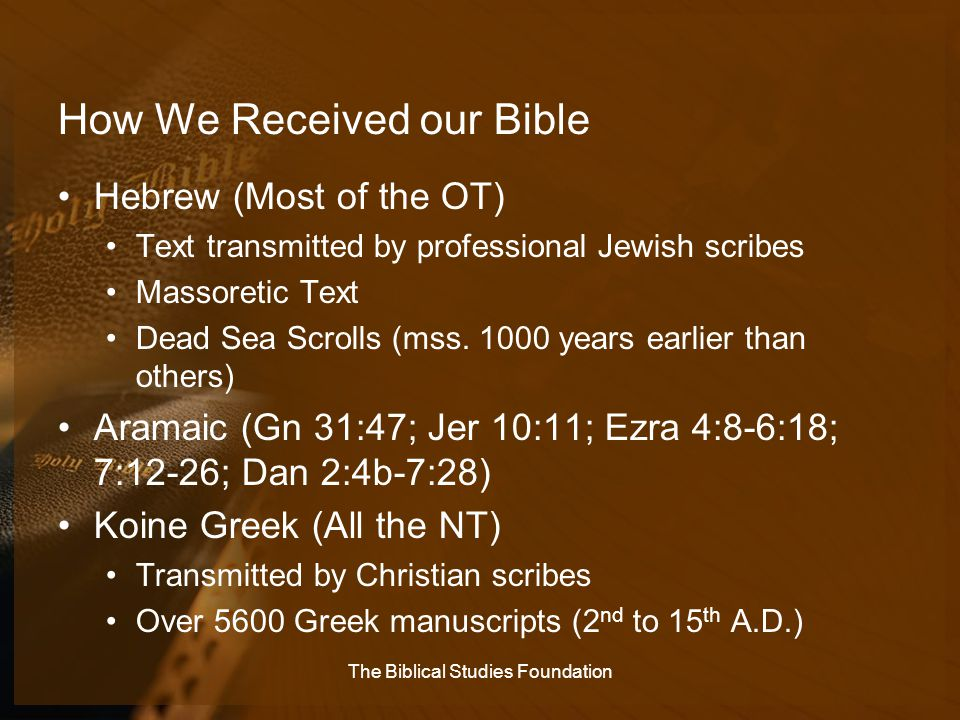 How We Received our Bible