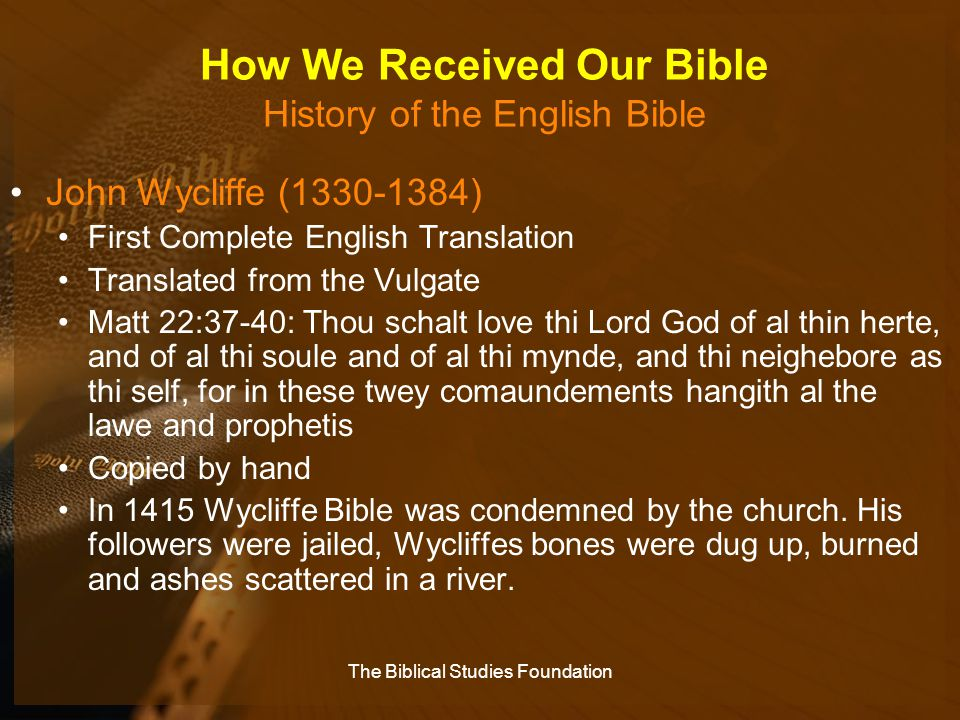 How We Received Our Bible History of the English Bible