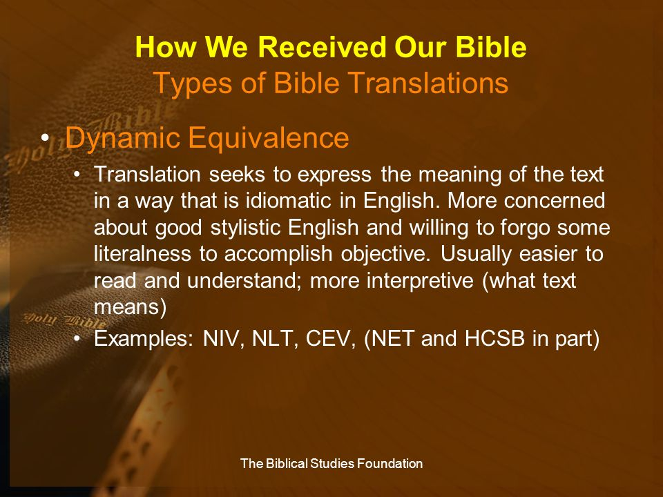 How We Received Our Bible Types of Bible Translations