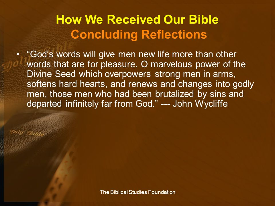 How We Received Our Bible Concluding Reflections