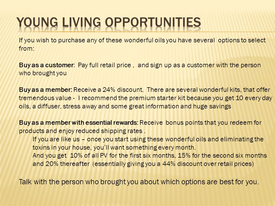 Young Living Opportunities