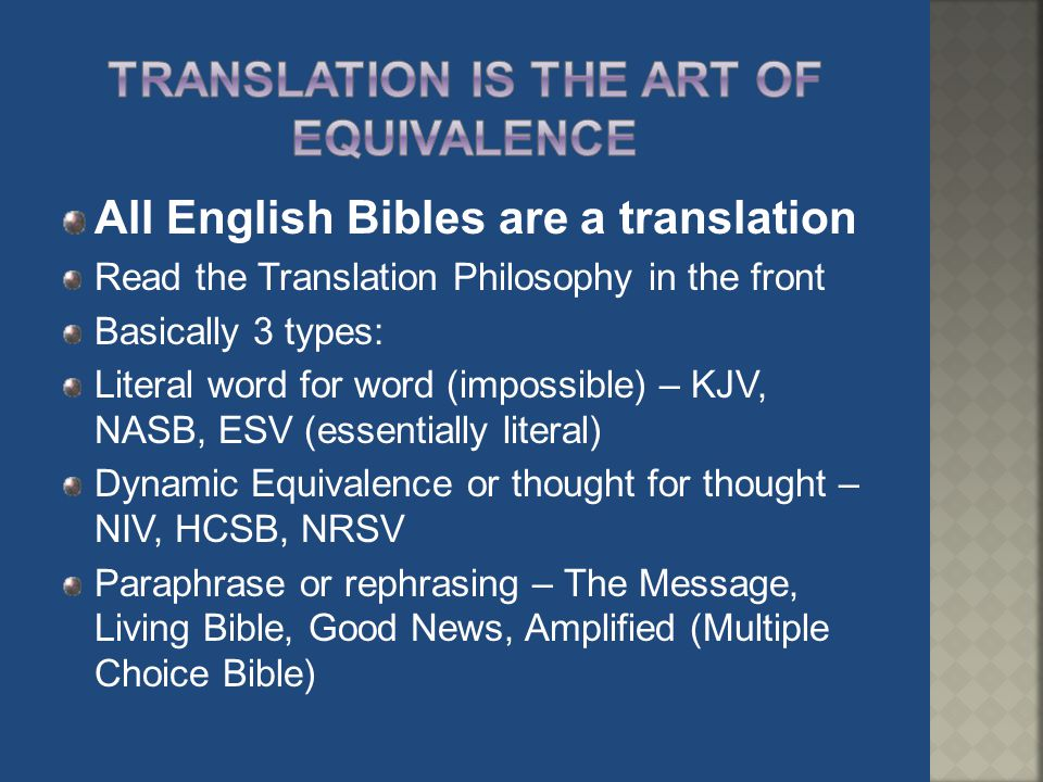 Translation is the art of equivalence