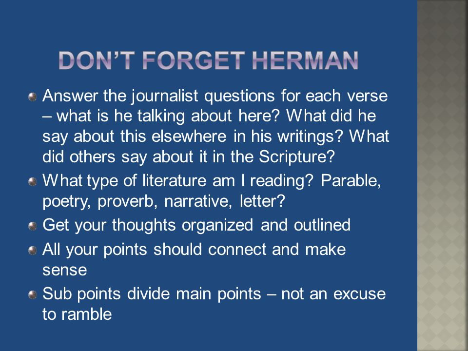 Don't forget herman