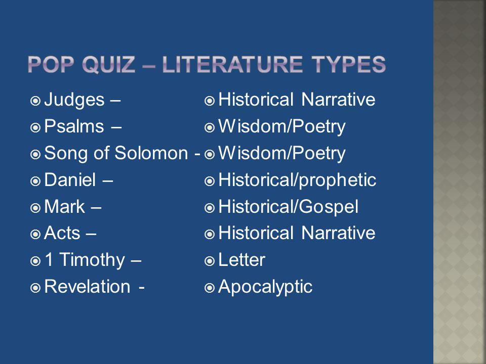 Pop quiz – literature types