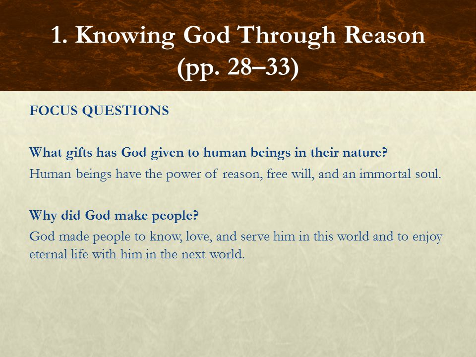 1. Knowing God Through Reason (pp. 28–33)
