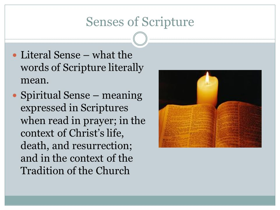 Senses of Scripture Literal Sense – what the words of Scripture literally mean.