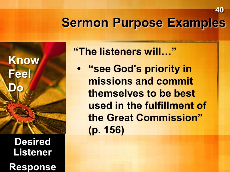 Sermon Purpose Examples