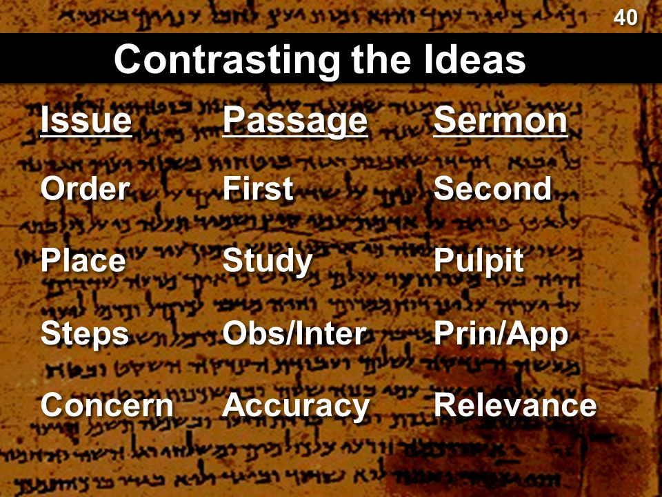 Contrasting the Ideas Issue Passage Sermon Order First Second Place