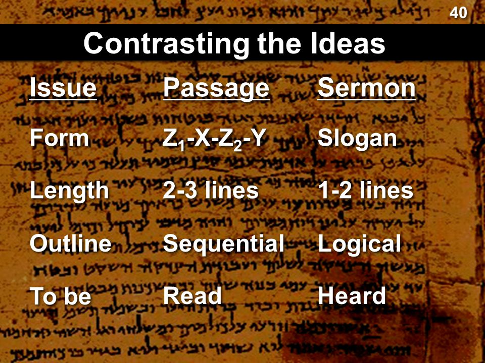 Contrasting the Ideas Issue Passage Sermon Form Z1-X-Z2-Y Slogan