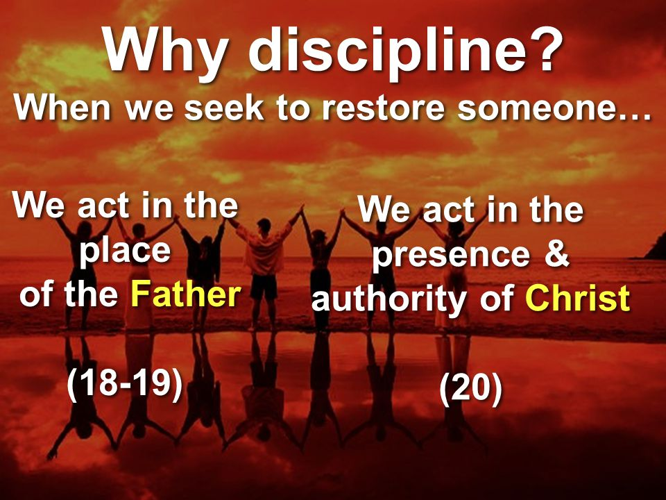 Why discipline When we seek to restore someone…