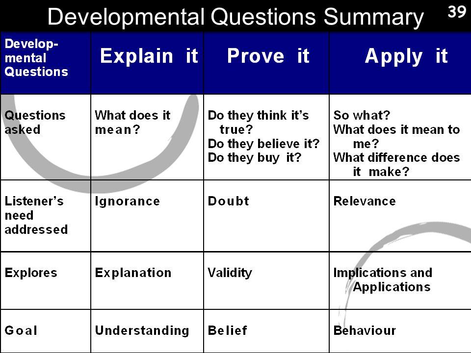 Developmental Questions Summary