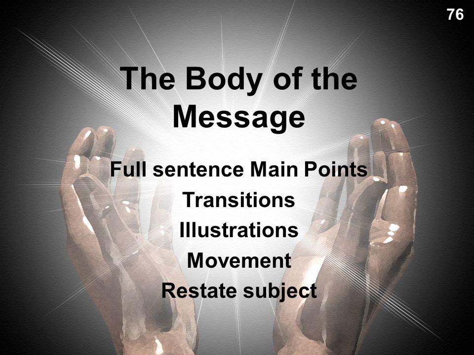 Full sentence Main Points