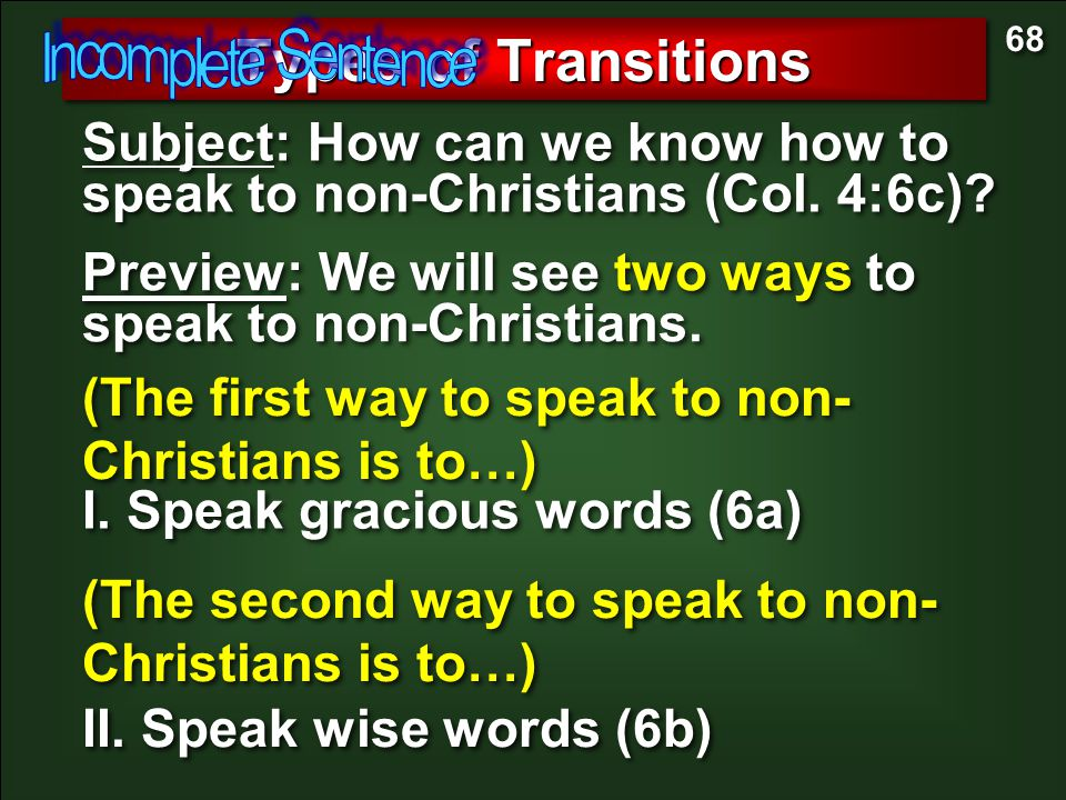 Types of Transitions Incomplete Sentence