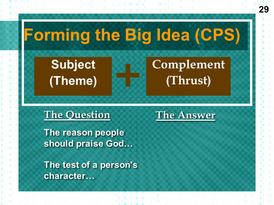 Forming the Big Idea (CPS)