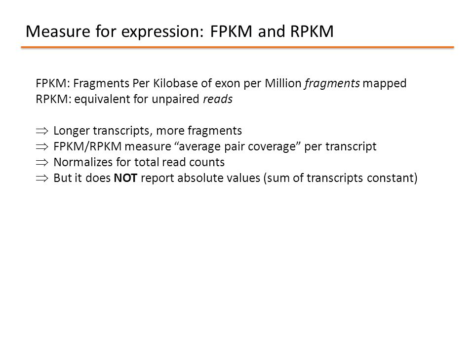 Measure for expression: FPKM and RPKM