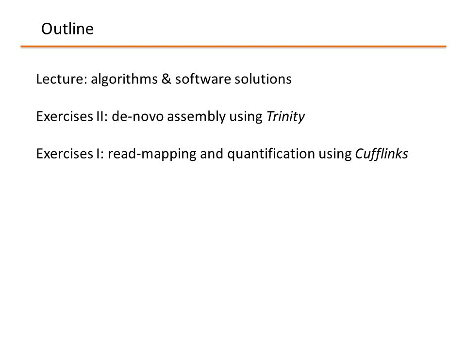 Outline Lecture: algorithms & software solutions