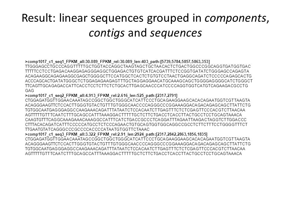 Result: linear sequences grouped in components, contigs and sequences