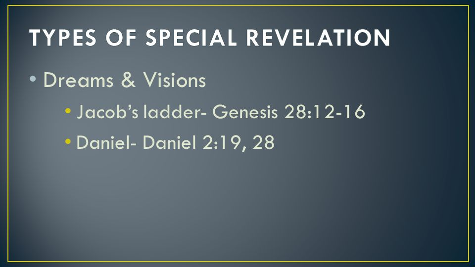 TYPES OF SPECIAL REVELATION