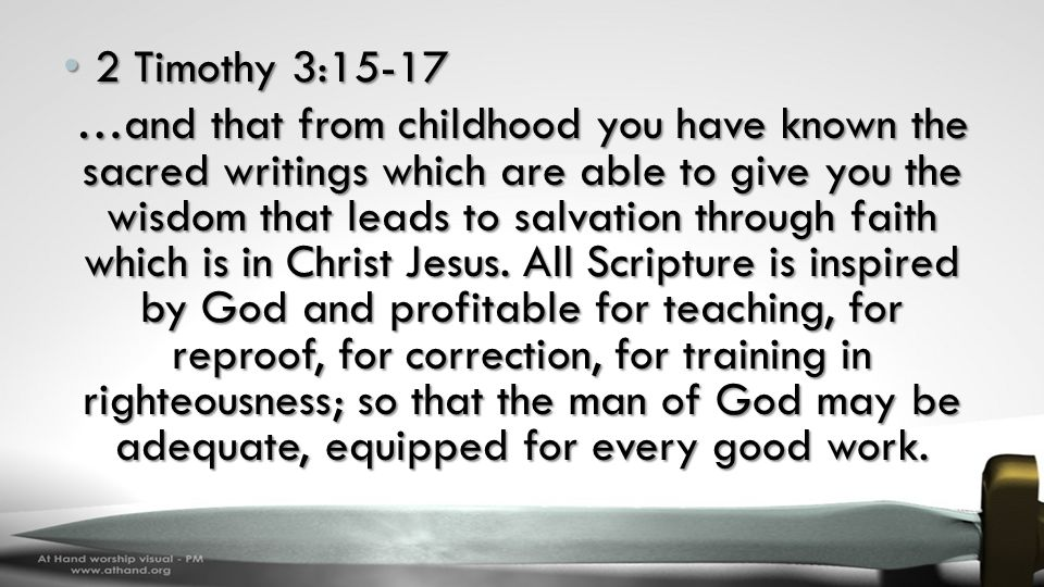 2 Timothy 3:15-17