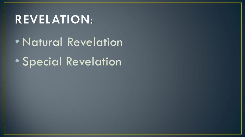 REVELATION: Natural Revelation Special Revelation