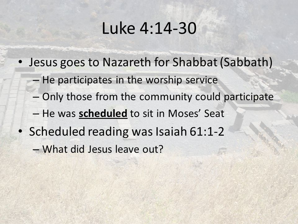 Luke 4:14-30 Jesus goes to Nazareth for Shabbat (Sabbath)