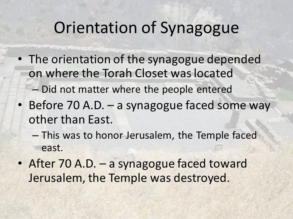 Orientation of Synagogue