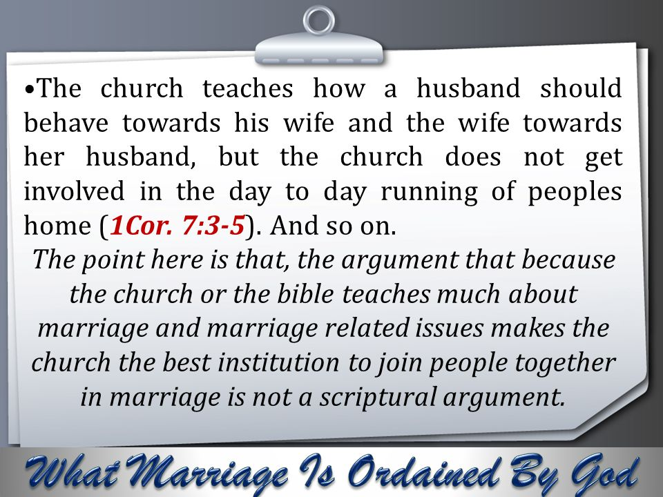 What Marriage Is Ordained By God