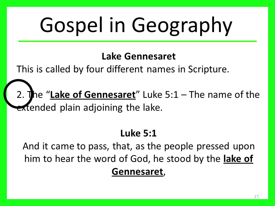 Gospel in Geography Lake Gennesaret