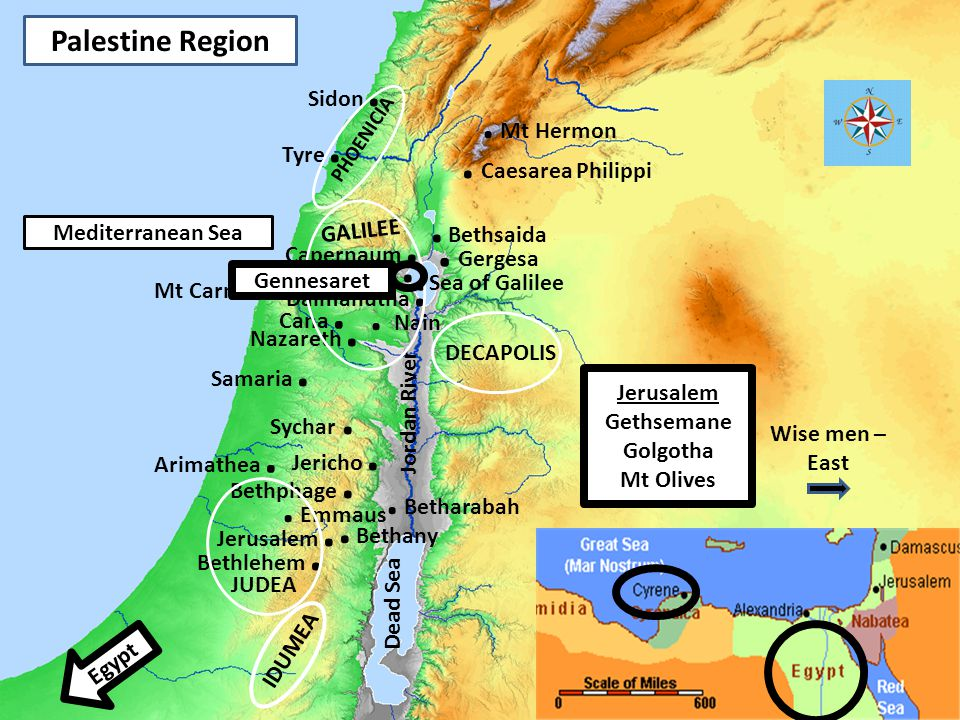 . Gergesa .Sea of Galilee . Caesarea Philippi . Bethsaida . Bethany