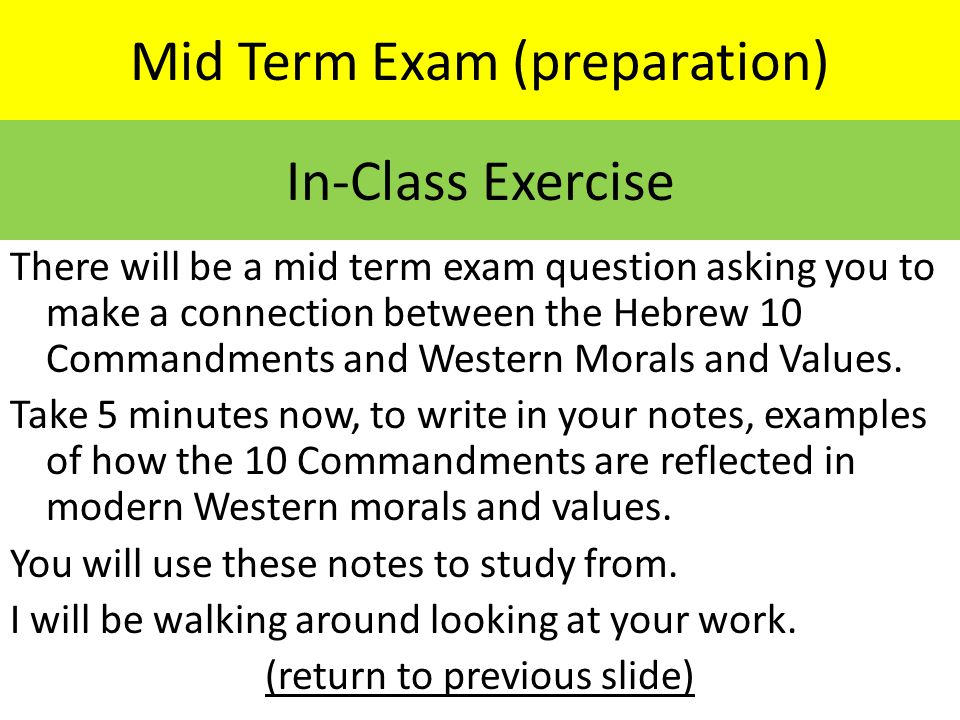 Mid Term Exam (preparation)
