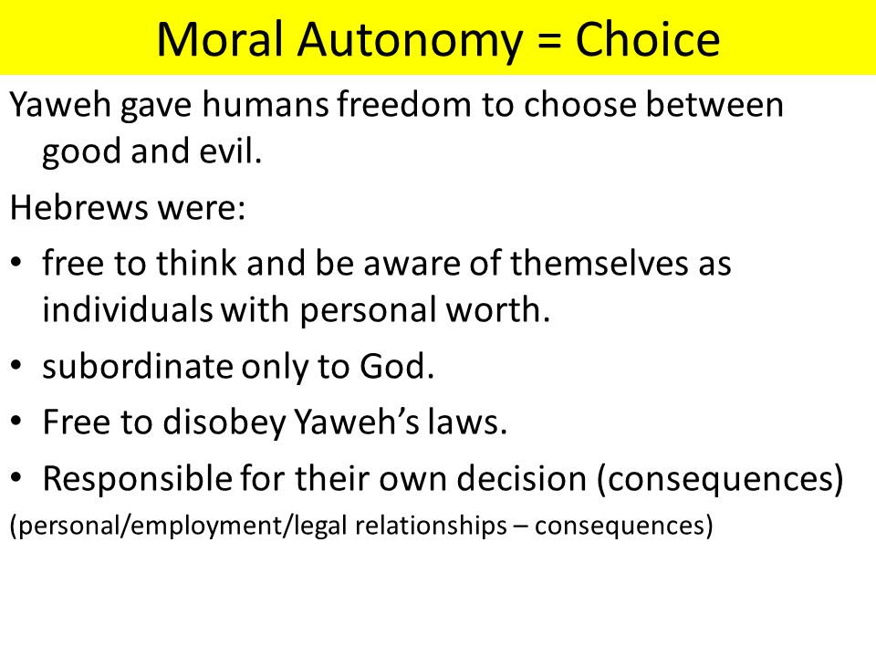 Moral Autonomy = Choice