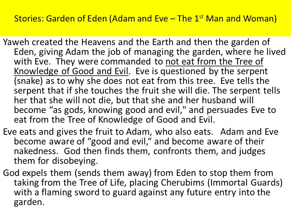 Stories: Garden of Eden (Adam and Eve – The 1st Man and Woman)