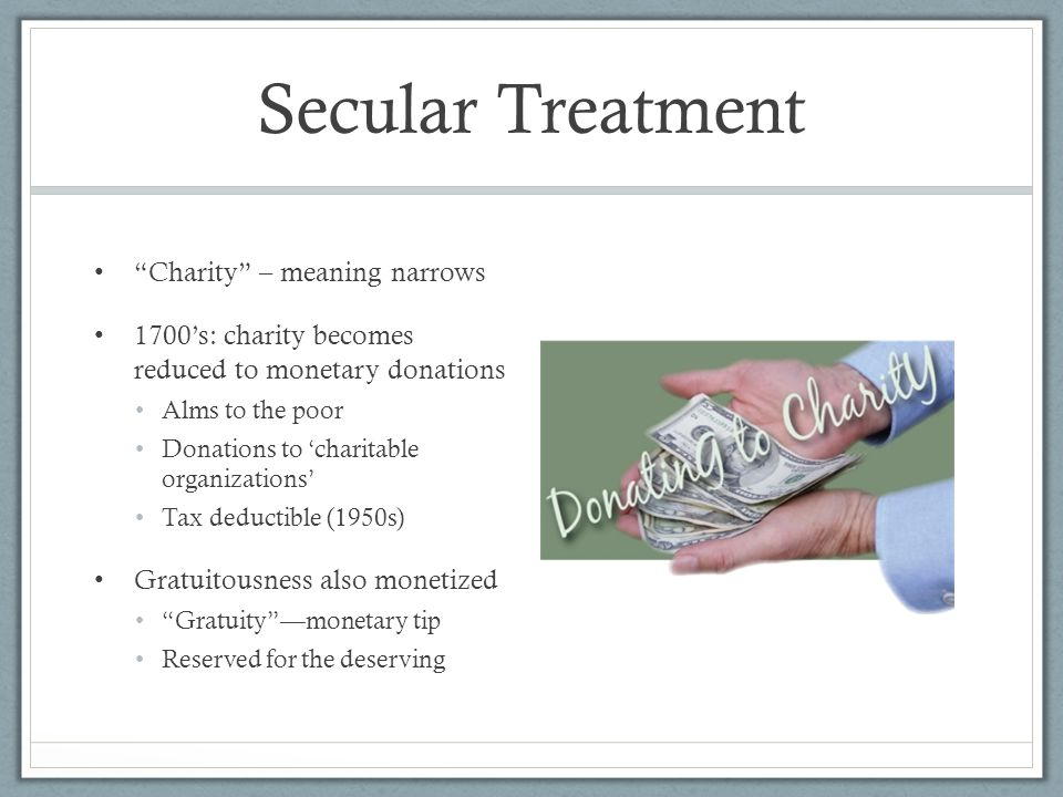 Secular Treatment Charity – meaning narrows