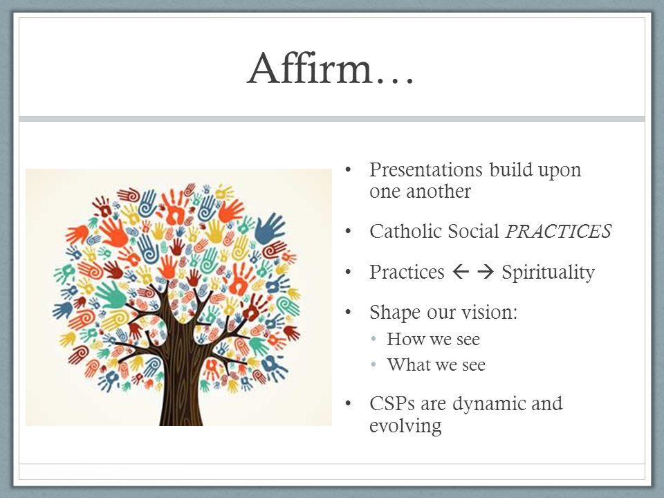 Affirm… Presentations build upon one another Catholic Social PRACTICES