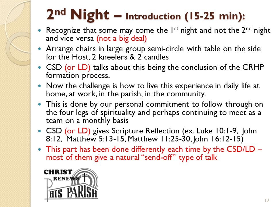 2nd Night – Introduction (15-25 min):
