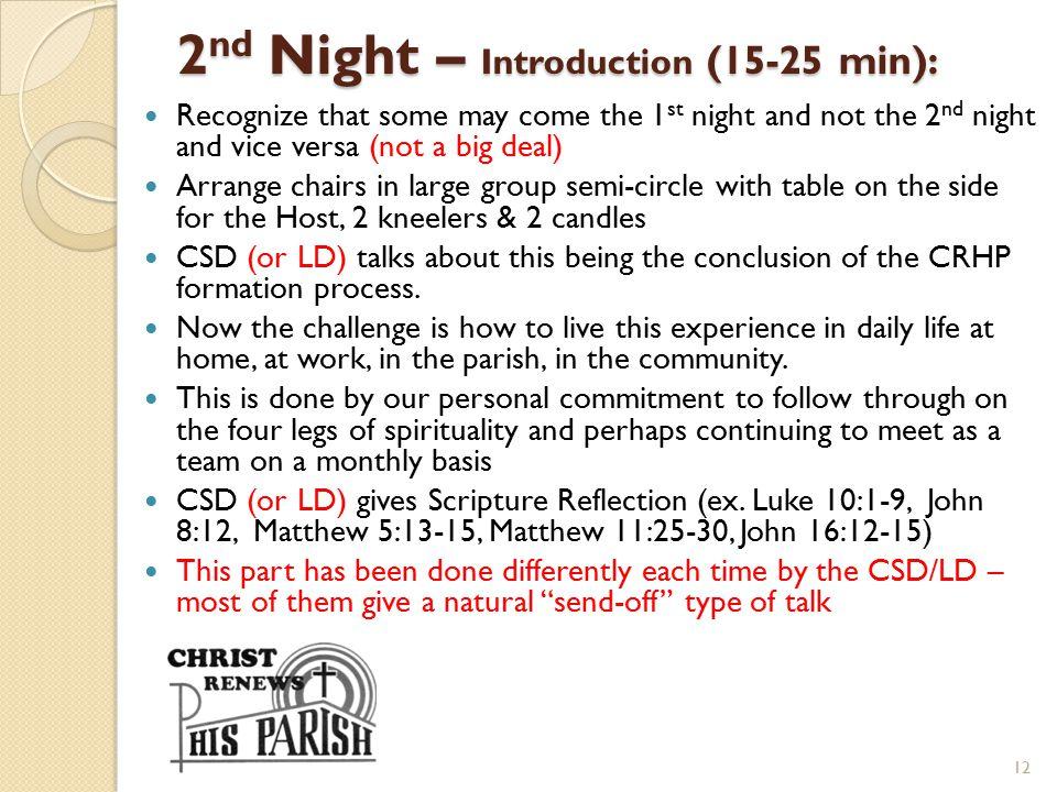2nd Night – Introduction (15-25 min):