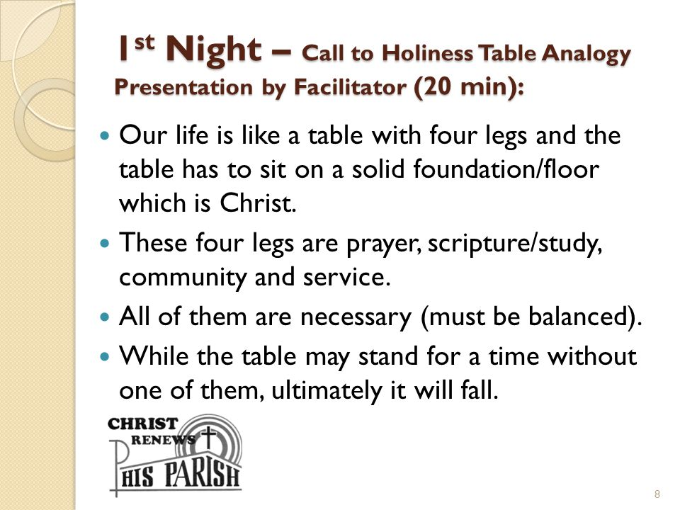 1st Night – Call to Holiness Table Analogy Presentation by Facilitator (20 min):