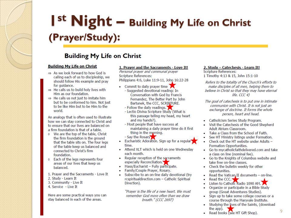 1st Night – Building My Life on Christ (Prayer/Study):