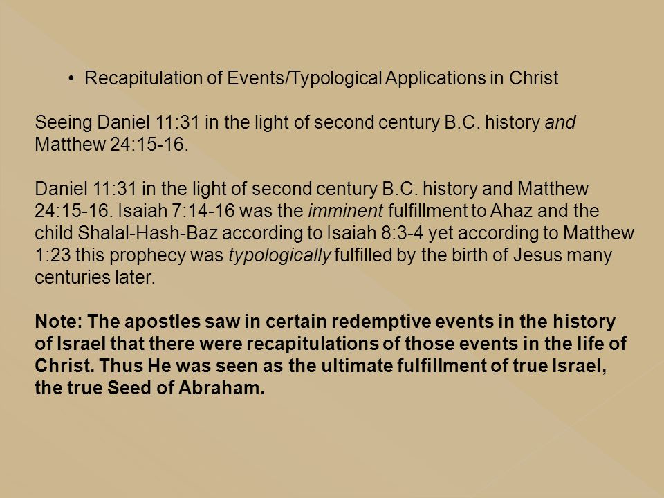 Recapitulation of Events/Typological Applications in Christ