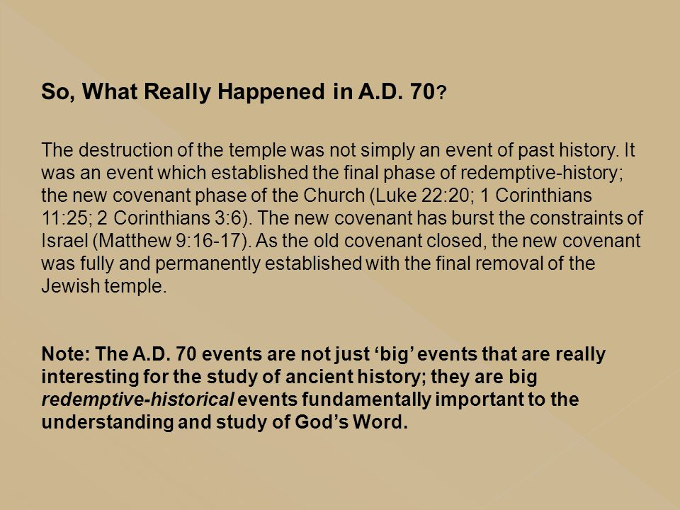 So, What Really Happened in A.D. 70