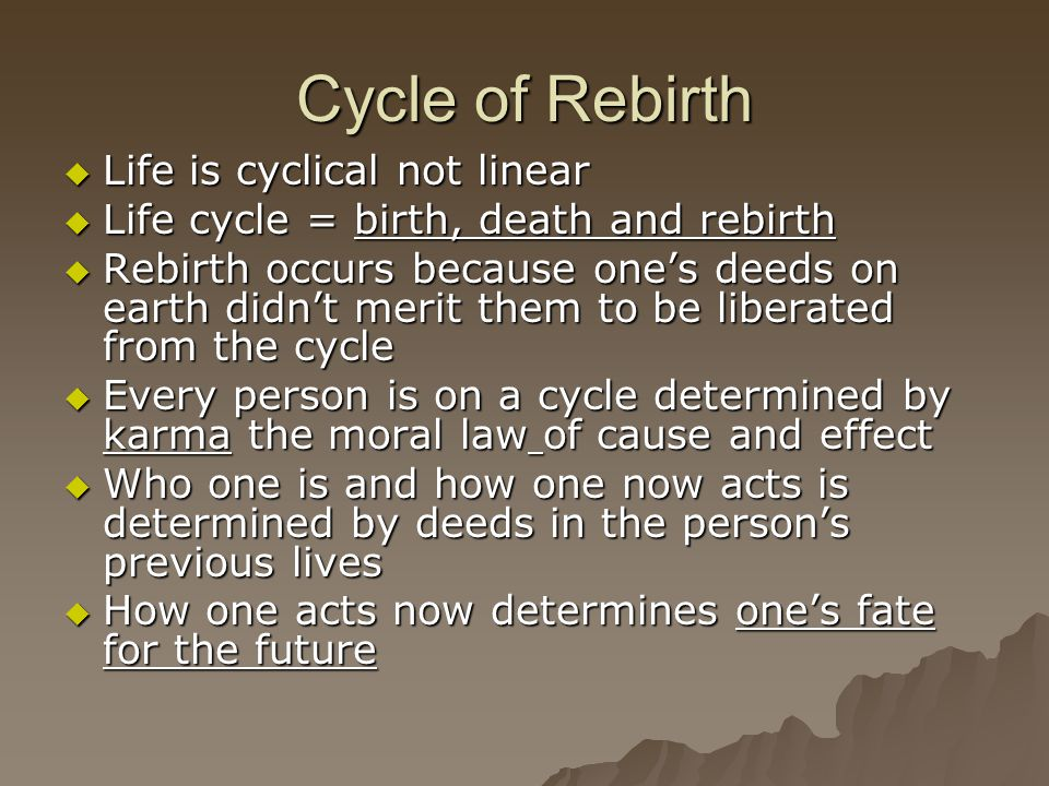 Cycle of Rebirth Life is cyclical not linear