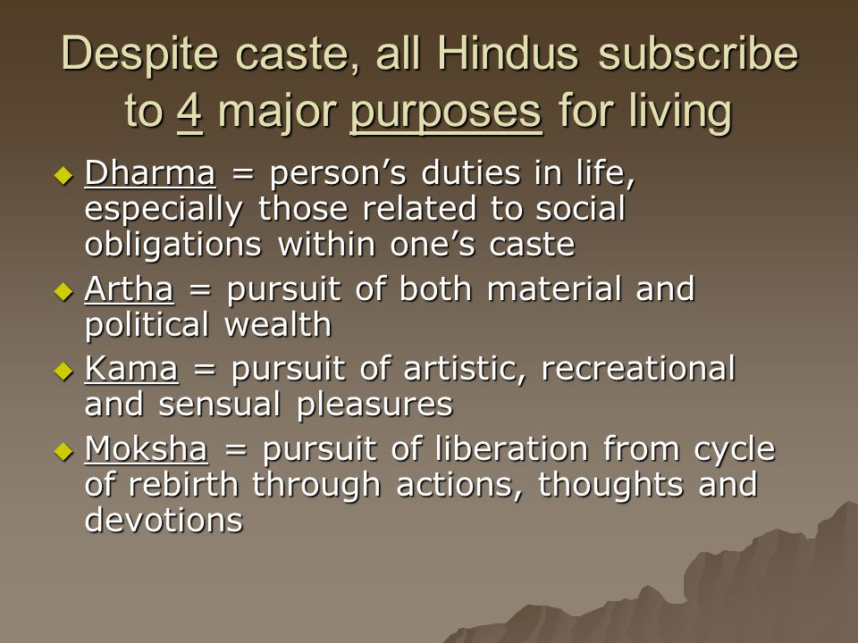 Despite caste, all Hindus subscribe to 4 major purposes for living