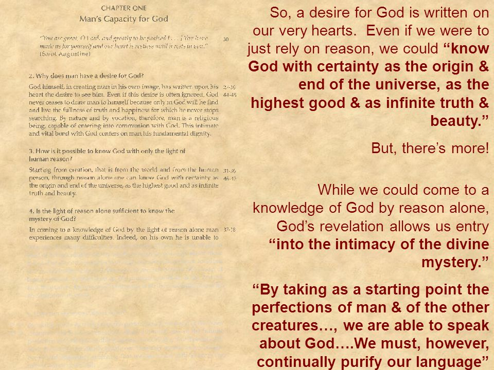 So, a desire for God is written on our very hearts