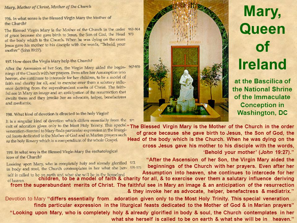 Mary, Queen of Ireland at the Bascilica of the National Shrine of the Immaculate Conception in Washington, DC.